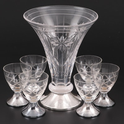 Dutch 835 Silver Footed Cut Glass Vase and Cordial Goblets, Mid-Late 20th C.