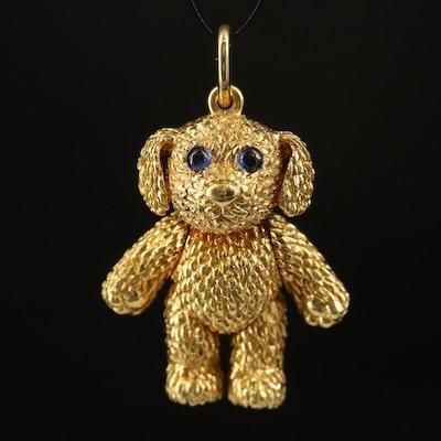 Robert Bruce Bielka 18K Sapphire Articulated Puppy Pendant