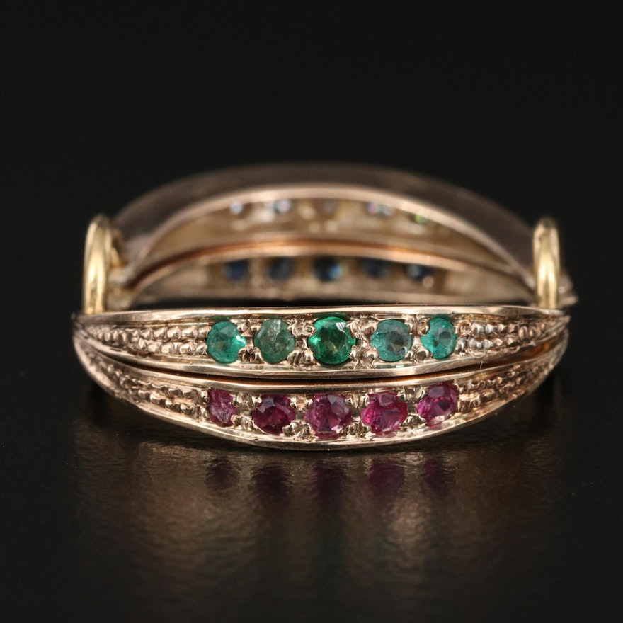 Vintage 10K Diamond and Gemstone Flip Ring with Interchangeable Shank