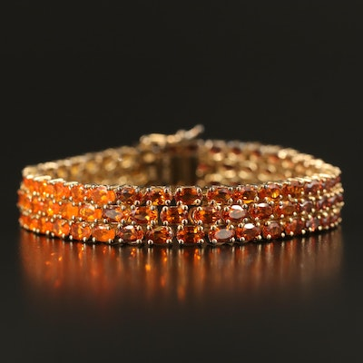 Sterling Zircon, Fire Opal, Citrine and Additional Gemstone Gradient Bracelet