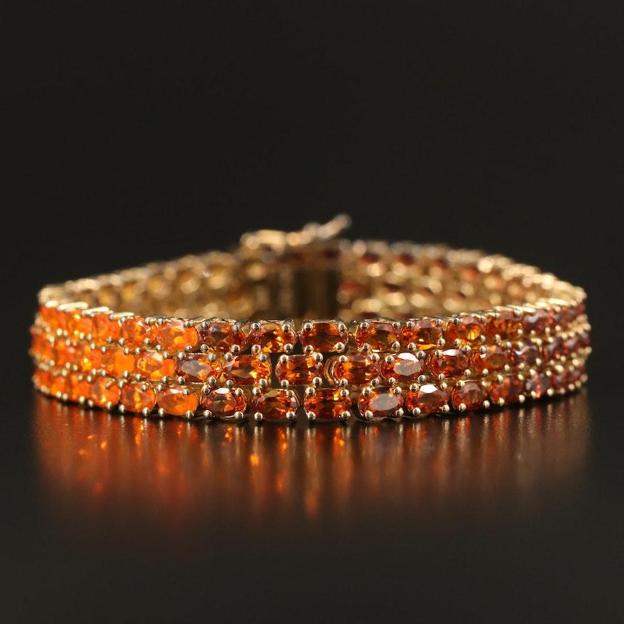 Sterling Zircon, Fire Opal, Citrine and Additional Gemstone Gradient Bracelet