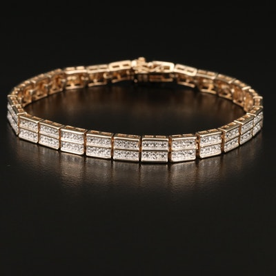 Sterling Silver Double Row Diamond Line Bracelet