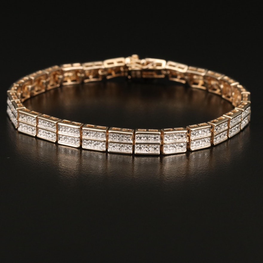 Sterling Silver Double Row Diamond Line Bracelet