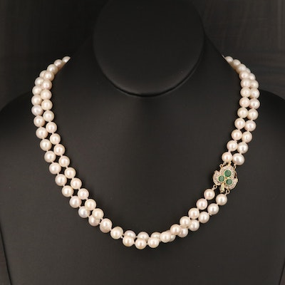Pearl Double Strand Necklace with 14K Emerald and Diamond Leaf Clasp