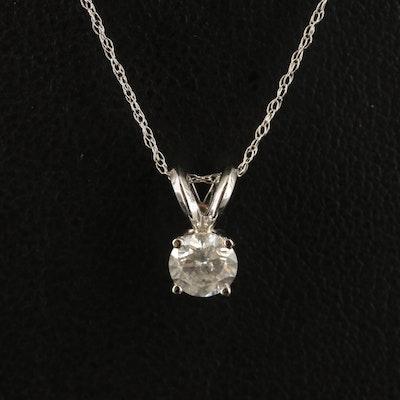 14K 0.47 CT Diamond Solitaire Pendant Necklace