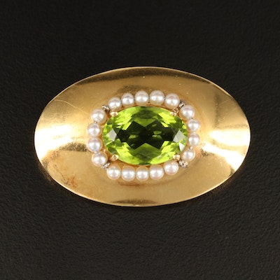 Spaulding & Co. Vintage 18K Peridot and Seed Pearl Brooch