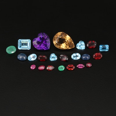 Loose 41.95 CTW Gemstone Selection Including Ruby, Emerald and Amethyst