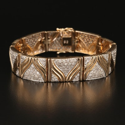 14K 4.33 CTW Pavé Diamond Panel Bracelet