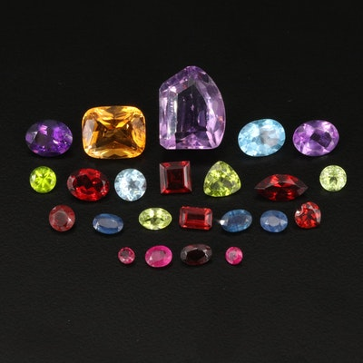 Loose 23.96 CTW Gemstone Selection Including Ruby, Amethyst and Citrine