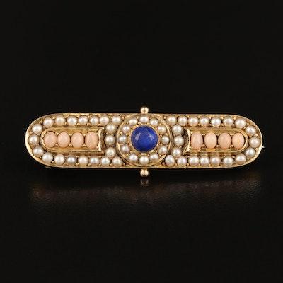 Victorian 14K Lapis Lazuli, Coral and Seed Pearl Bar Pin