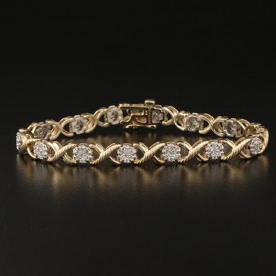 14K 2.00 CTW Diamond Cluster Line Bracelet