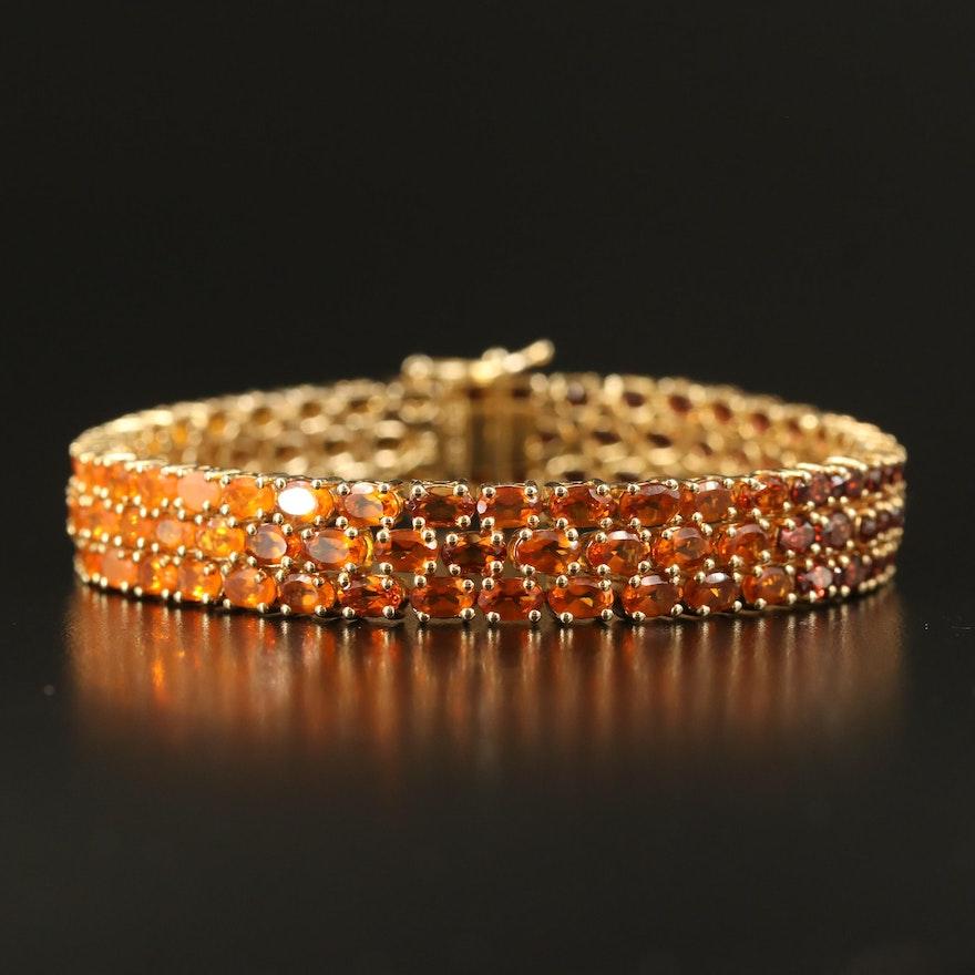 Sterling Gradient Multi-Row Bracelet with Zircon, Fire Opal and Garnet