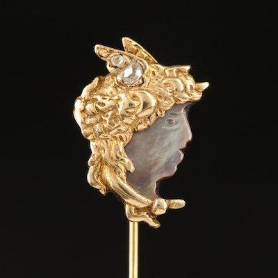 Art Nouveau 14K Mother of Pearl and Diamond Winged Goddess Stick Pin