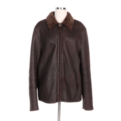 Cole Haan Leather Jacket with Faux Shearling Lining and Collar