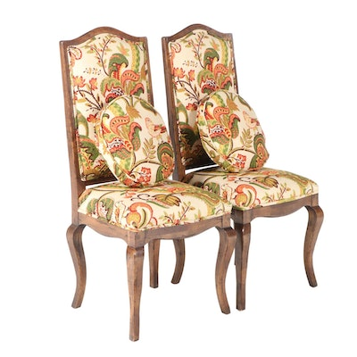 Pair of French Provincial Style Walnut-Stained & Custom-Upholstered Side Chairs