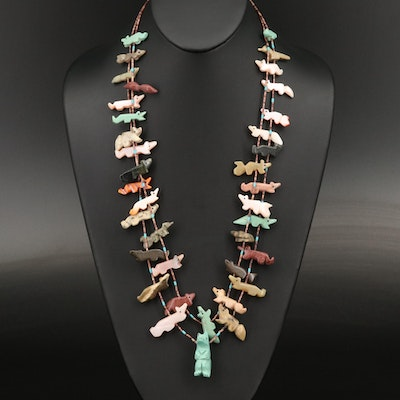 Jasper, Coral and Spiny Oyster Double Strand Fetish Necklace