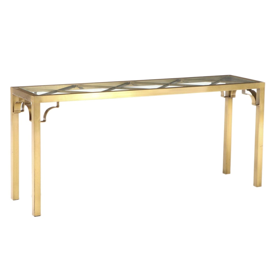 Hollywood Regency Style Brass and Glass Top Console Table