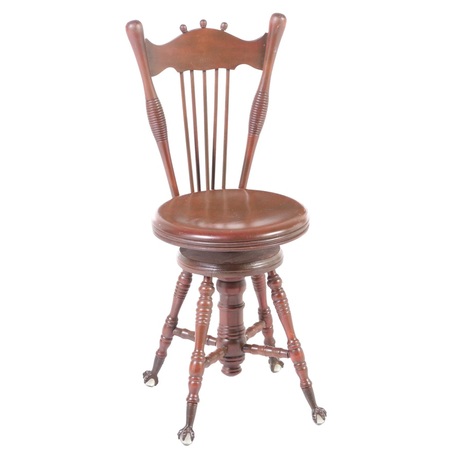 The Charles Parker Co. Late Victorian Adjustable Spindle-Back Piano Stool