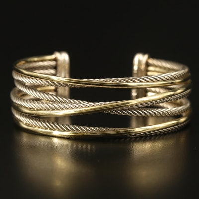 "David Yurman ""Crossover"" Sterling and 18K Cuff"