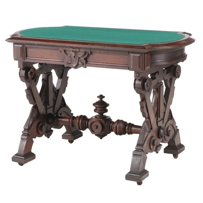 Victorian Renaissance Revival Walnut Center Table, Poss. Thomas Brooks, c.1870