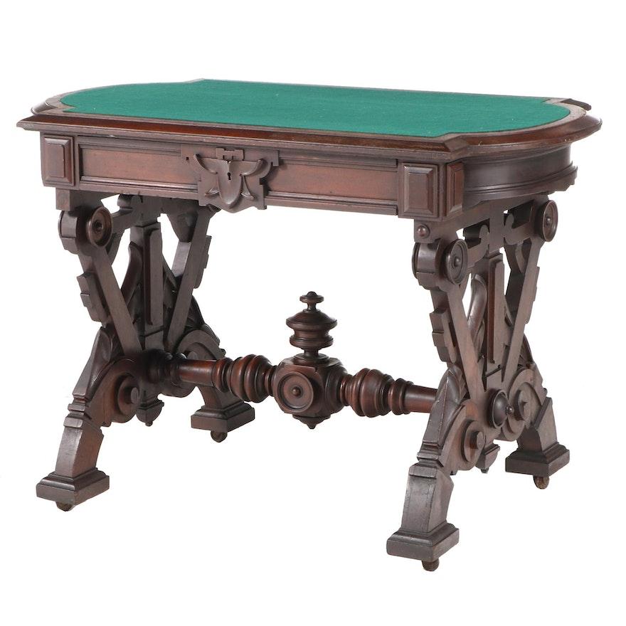 Victorian Renaissance Revival Walnut Center Table, Poss. Thomas Brooks, c.1870