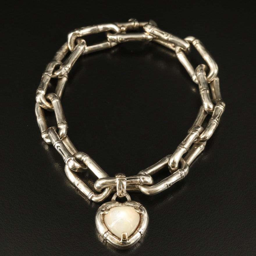 John Hardy Sterling Mother of Pearl Heart Charm Bracelet with Bamboo Cable Chain