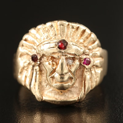 14K Diamond, Garnet and Ruby Chieftain Ring