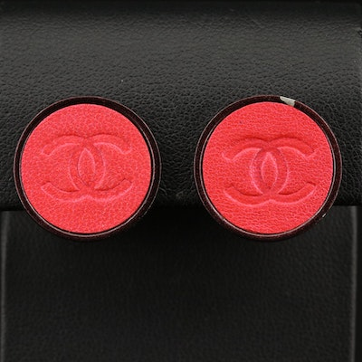 Fall 2000 Chanel Logo Embossed Leather Button Earrings