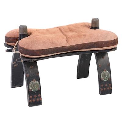 Ideal Middle Eastern Leather, Brass-Mounted, & Ebonized Wood Camel Saddle Stool