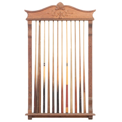 Late Victorian Oak Pool Cue Rack Plus Thirteen Cues, circa 1900 and Later