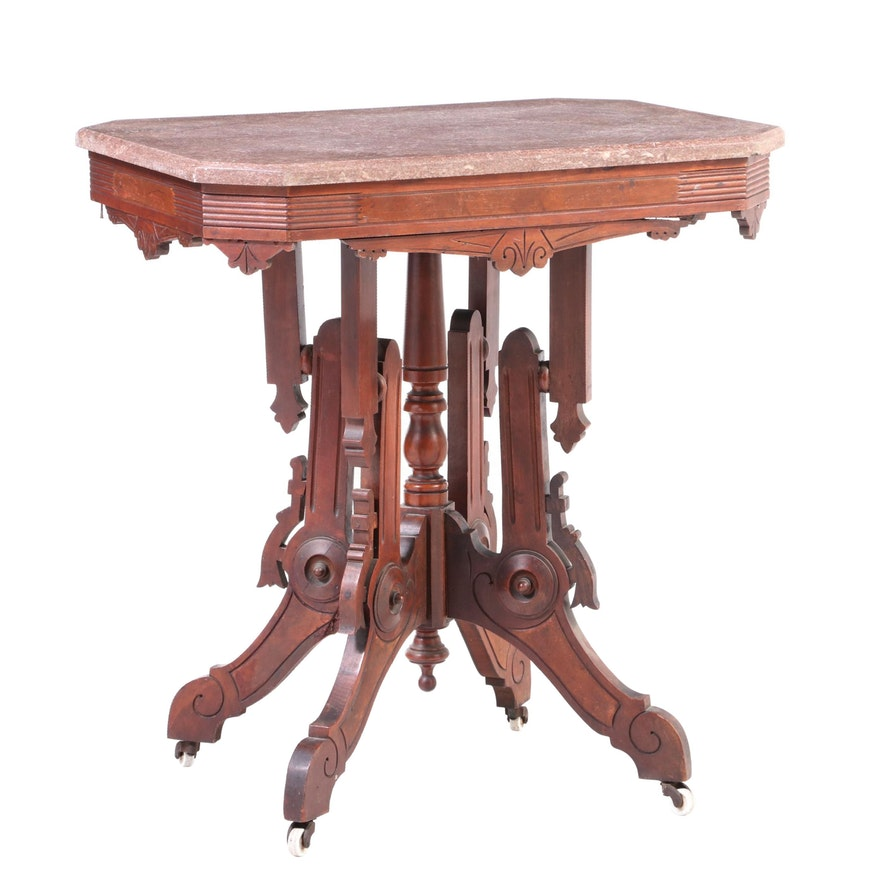 Victorian Walnut, Burl Walnut, and Rouge Marble Side Table, Late 19th Century