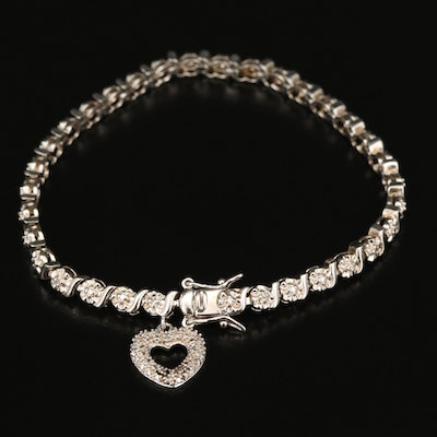 Sterling Diamond S-Link Bracelet with Heart Charm