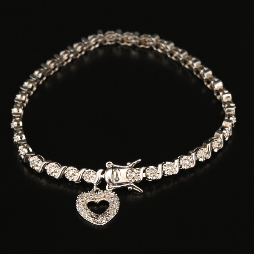 Sterling Diamond S-Link Bracelet with Heart Charm