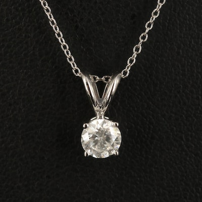 14K 0.59 CT Diamond Solitaire Pendant on Gold Filled Singapore Chain Necklace