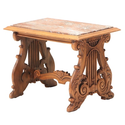 Rococo Style Walnut-Stained and Marble Top Side Table, 20th Century