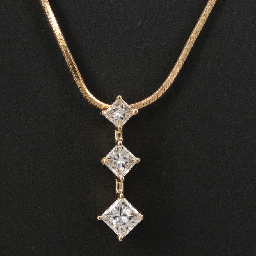 14K Graduated Diamond Pendant Necklace