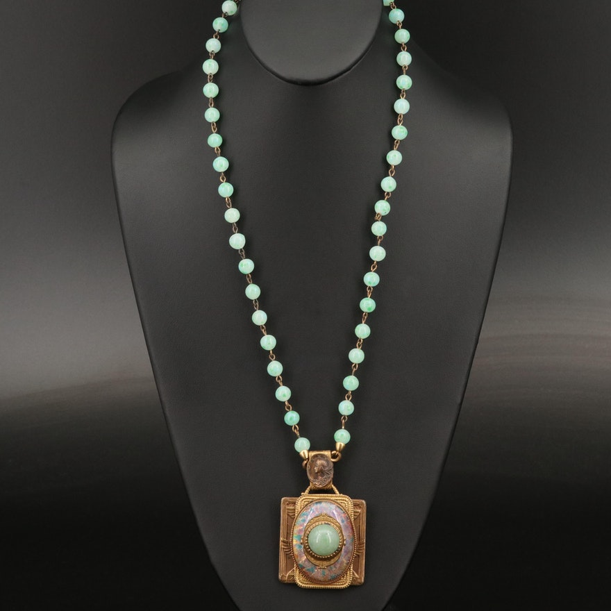 Antique Egyptian Revival Pendant Necklace with Green Glass Accents
