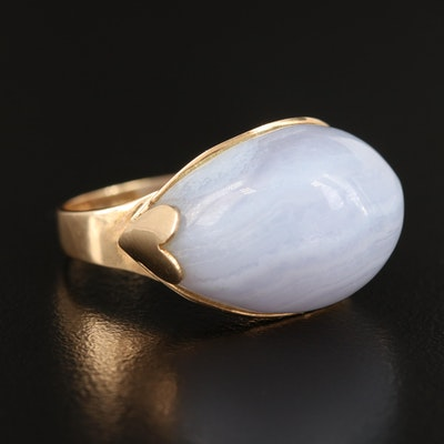 14K Laced Agate East-West Domed Ring