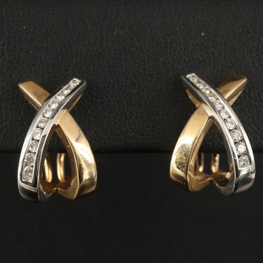 14K Two-Tone Diamond Crossover J-Hoop Earrings