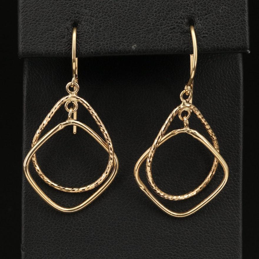18K Geometric Hoop Earrings