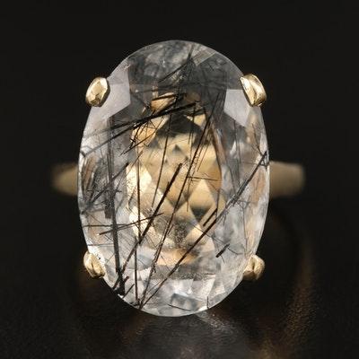 14K 20.28 CT Tourmalinated Quartz Ring