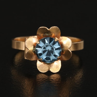 18K Blue Glass Ring with Scalloped Edges