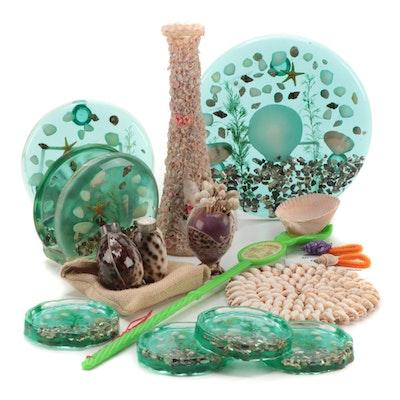 Seashell and Nautical Themed Coasters, Napkin Holder, Shaker Set and Novelties