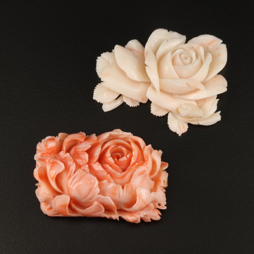 Loose Carved Coral Flowers