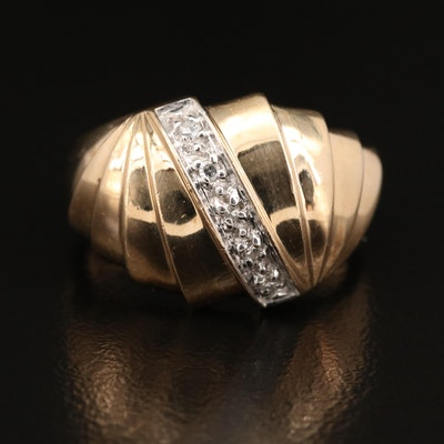 10K Diamond Fluted Ring