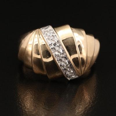 10K Diamond Fluted Ring