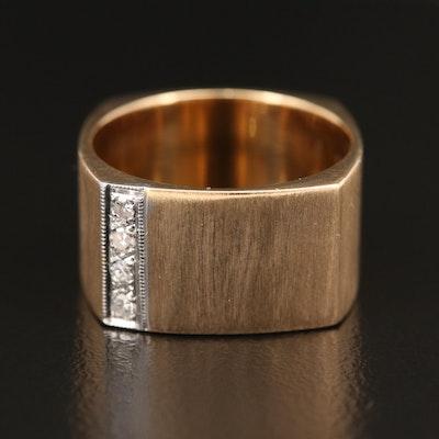 14K Diamond Square Ring with Brushed Finish
