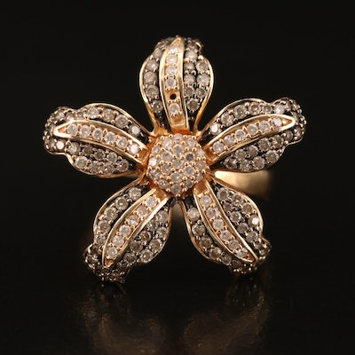 14K Pavé Diamond Flower Ring