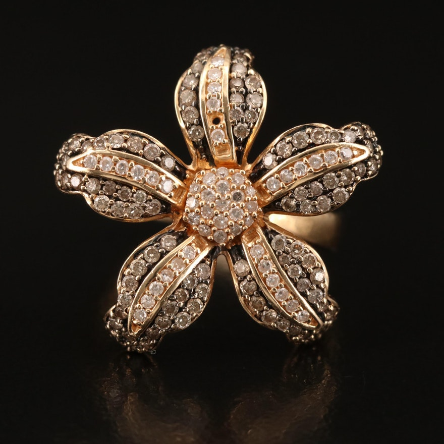 14K Pavé Diamond Flower Ring