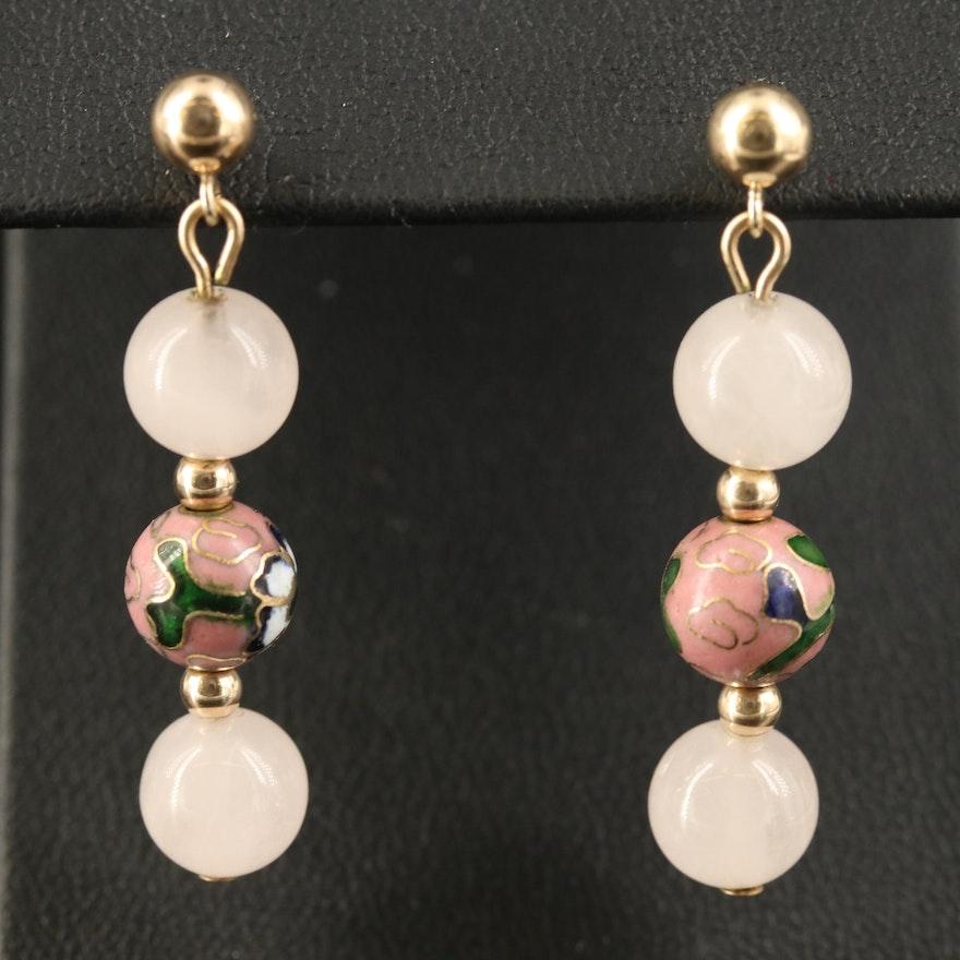 14K Quartz and Cloisonné Enamel Bead Earrings